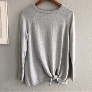 LC Lauren Conrad Gray Sequin Tie Front Sweater